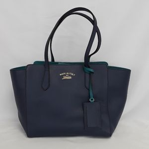 New GUCCI 354408 blue Swing Small Leather Tote bag